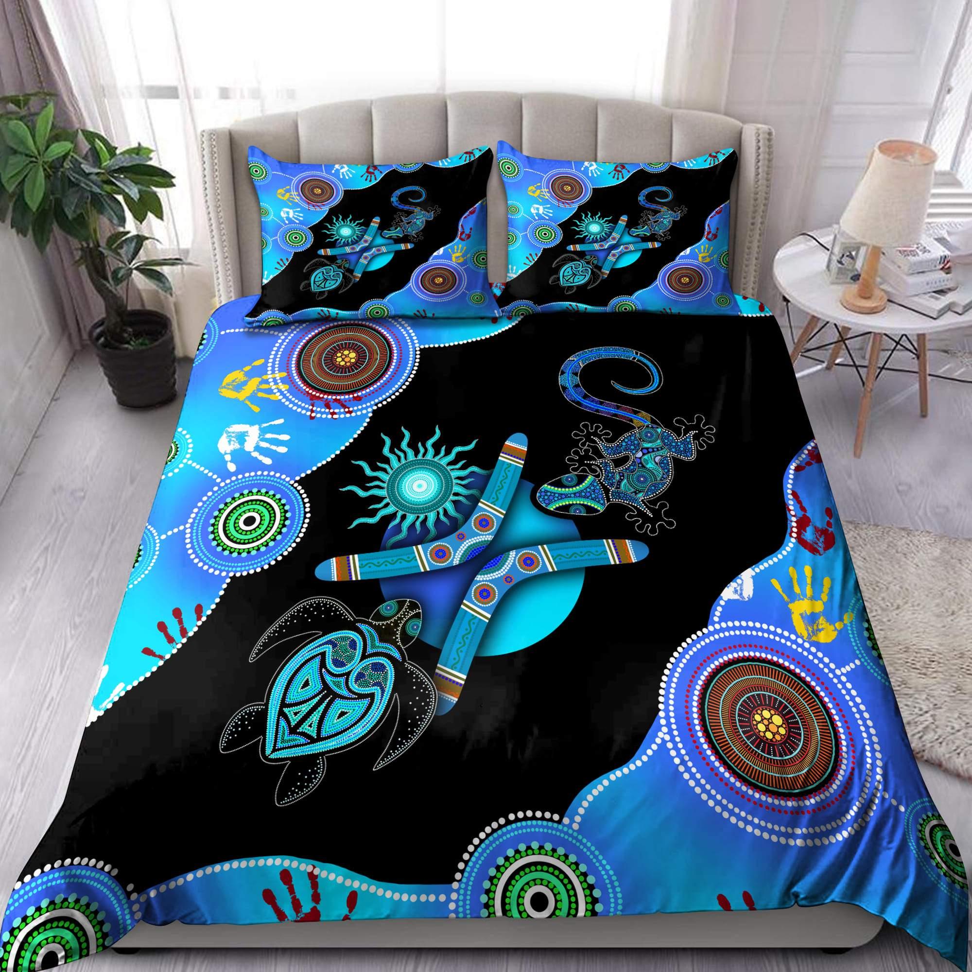 Aboriginal Naidoc Week Blue Turtle Lizard Bedding set