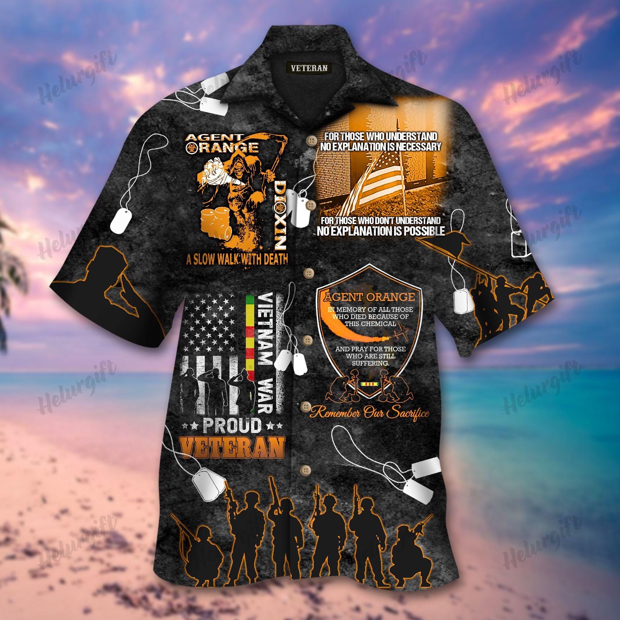 Agent Orange Vietnam Proud Veteran Memorial Hawaiian Shirt