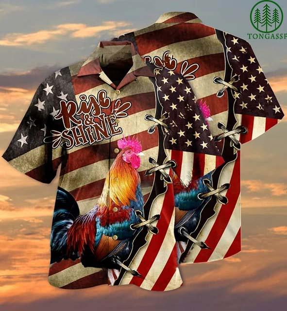 America Chicken Rise and Shine Hawaiian Shirt