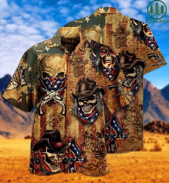 America Skull Cowboy Hawaiian Shirt