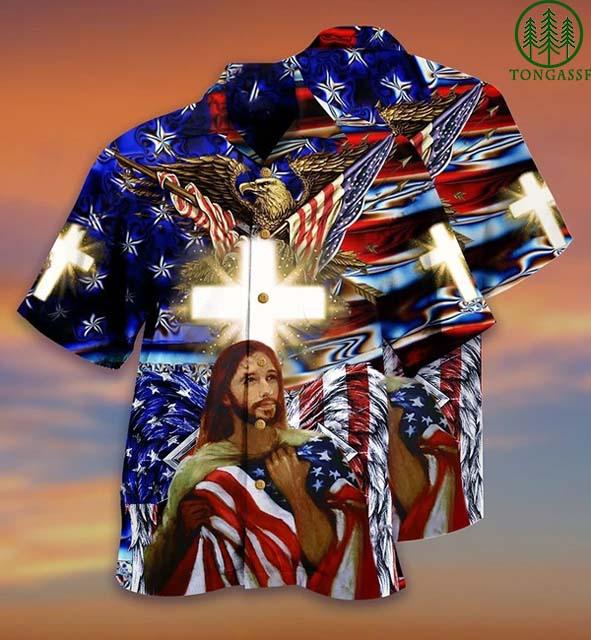 America and Jesus Bless Hawaiian Shirt