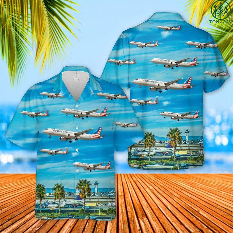 American Airlines Airbus A321 At Los Angeles International Airport Hawaiian Shirt