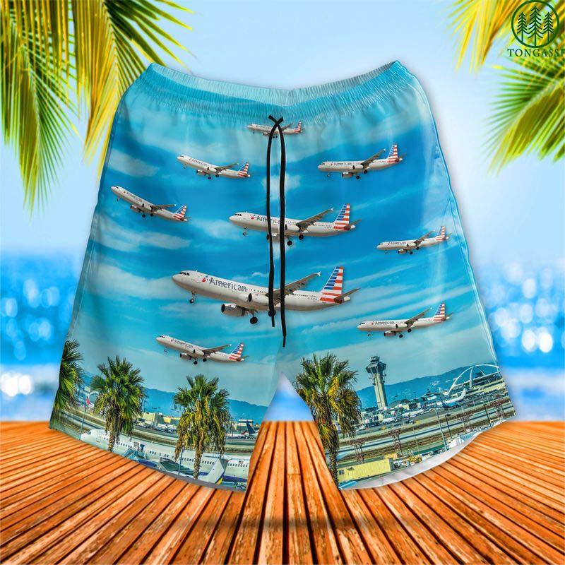 American Airlines Airbus A321 At Los Angeles International Airport Hawaiian Shorts