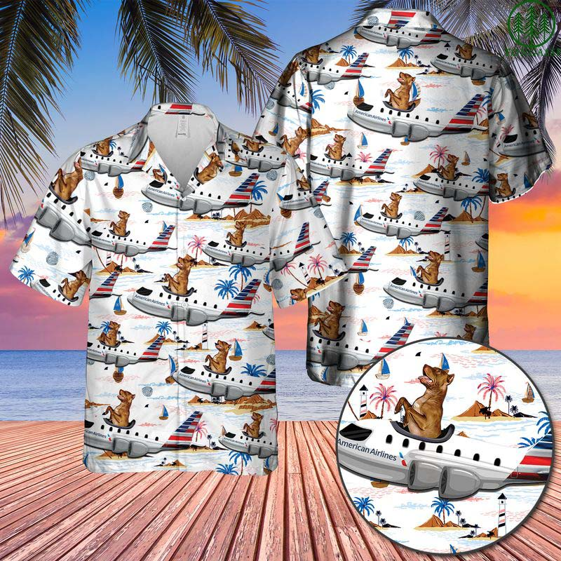 American Airlines American Pit Bull Terrier On Boeing 767-323ER Hawaiian Shirt