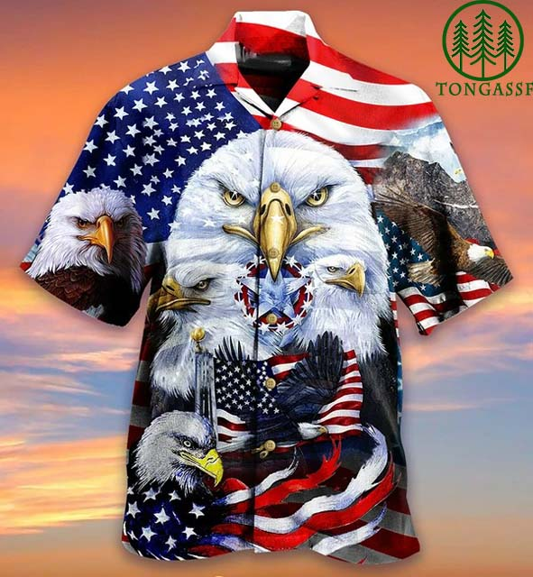 American Eagle and flag Hawaiian Shirt