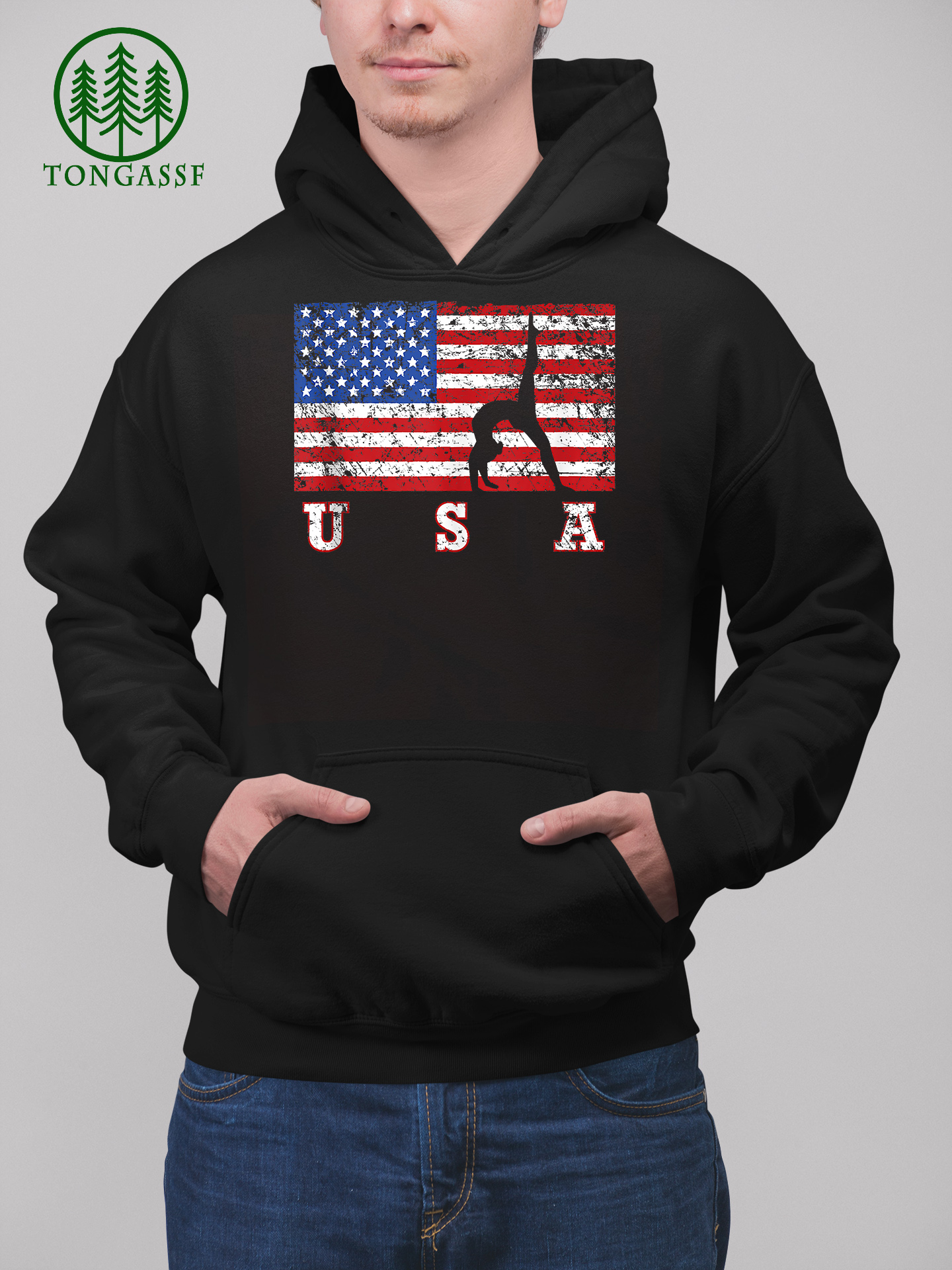 American Flag Gymnastics USA Gift Tumbling Team Hoodie