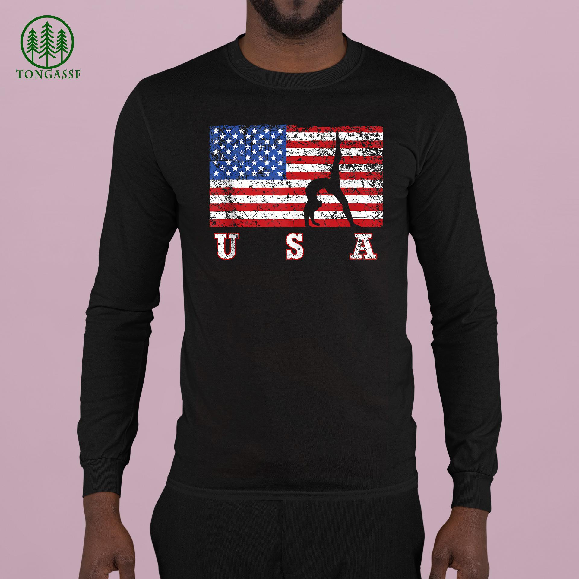 American Flag Gymnastics USA Gift Tumbling Team Longsleeve Shirt