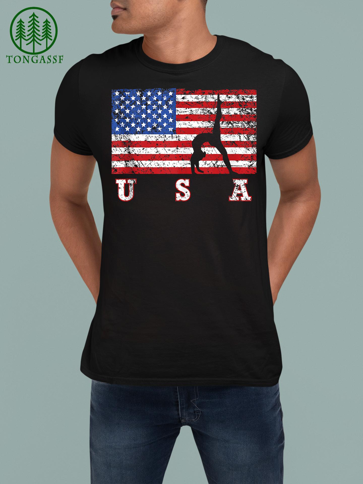 American Flag Gymnastics USA Gift Tumbling Team Shirt