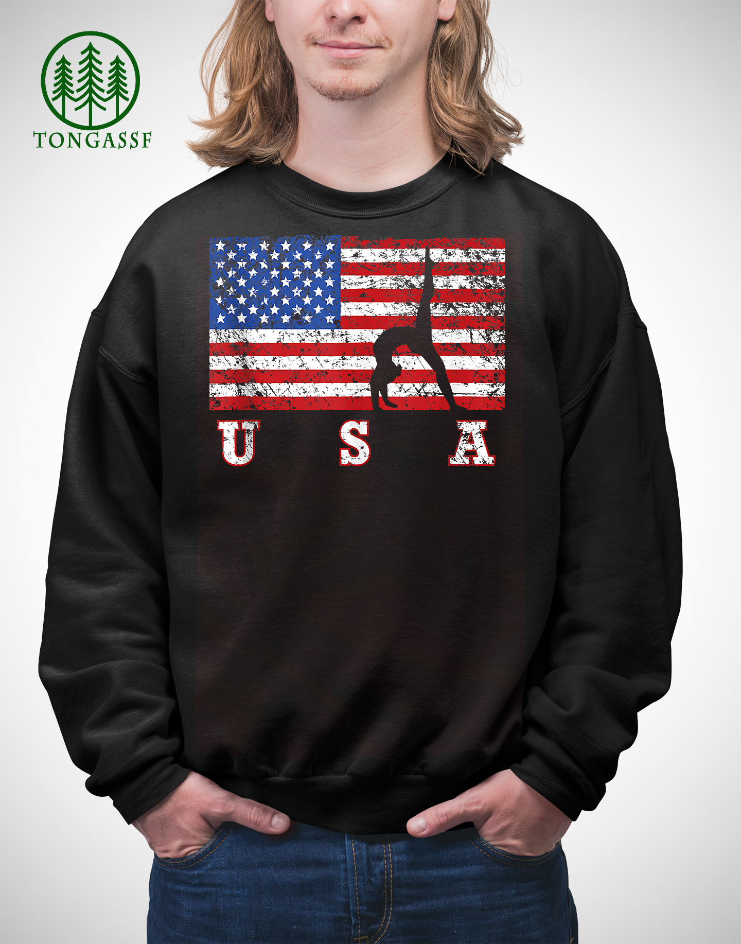 American Flag Gymnastics USA Gift Tumbling Team Sweatshirt