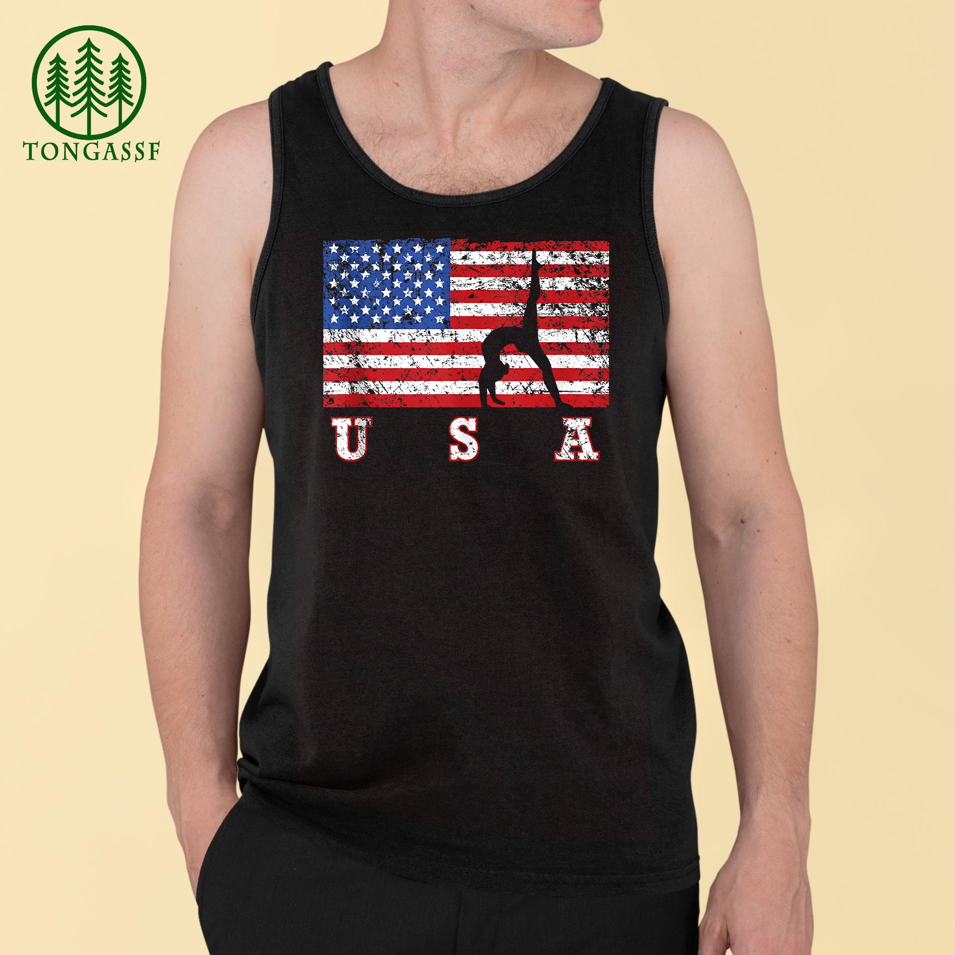 American Flag Gymnastics USA Gift Tumbling Team Tank Top