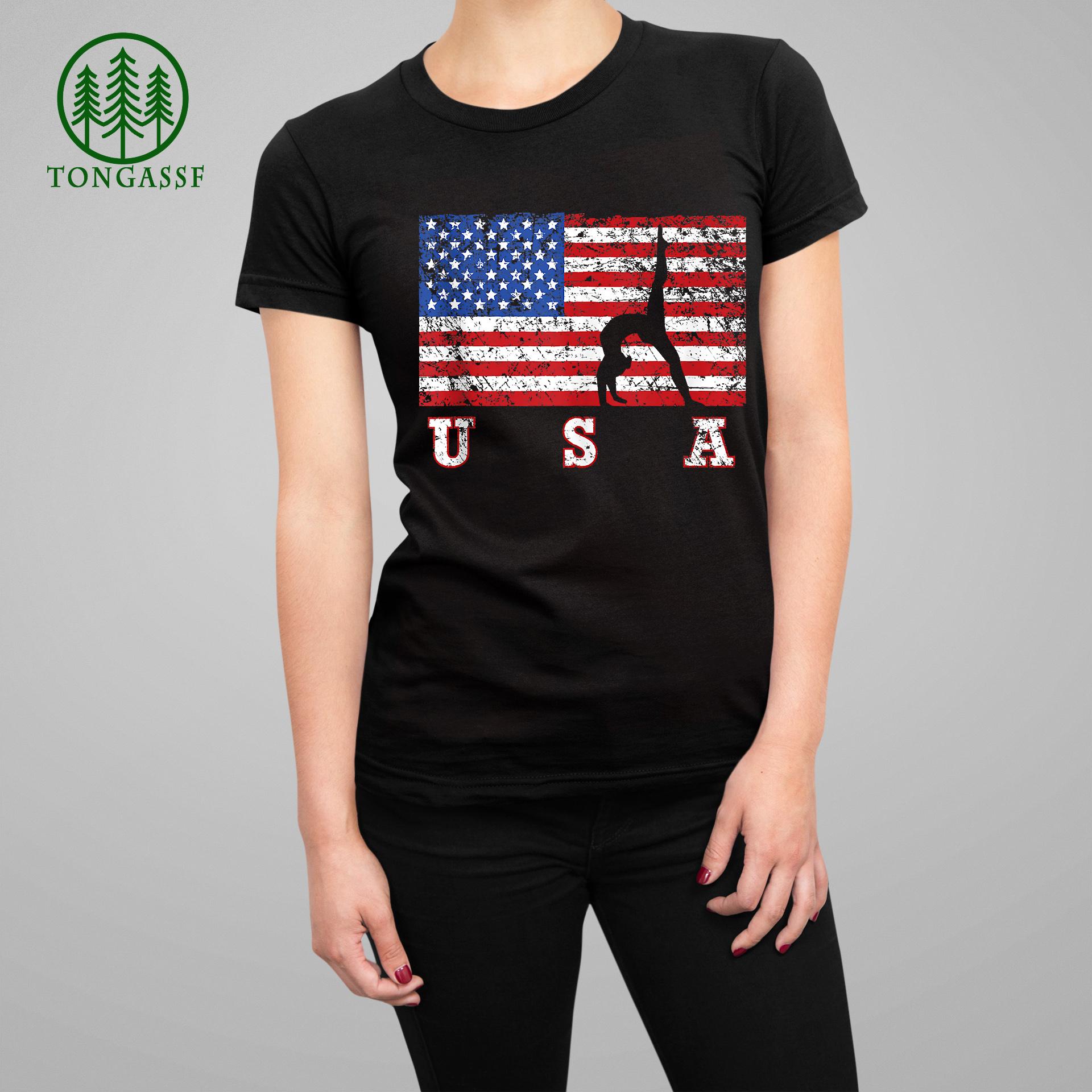 American Flag Gymnastics USA Gift Tumbling Team Womantee