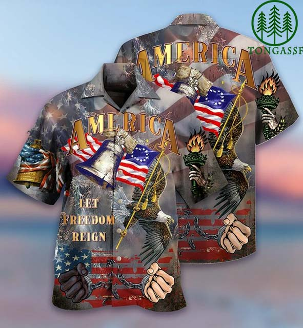 American Let freedom reign Hawaiian shirt