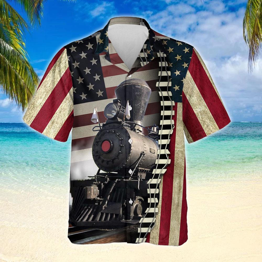 American Type Steam Locomotive Hawaiian Shirt 2