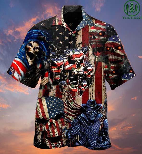American angry Skull and cowboy Hawaiian Shirt