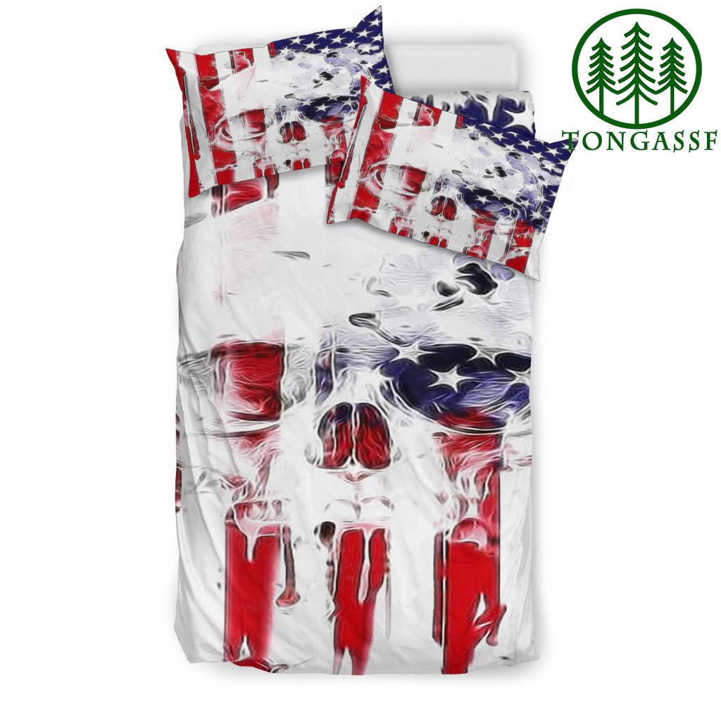 American flag 3D Skull bedding set