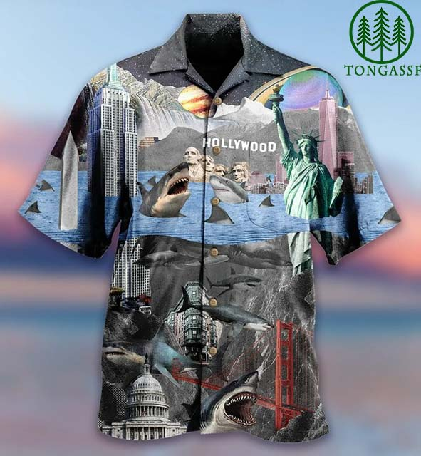 American wonder and shark Hollywood Hawaiian Shirt