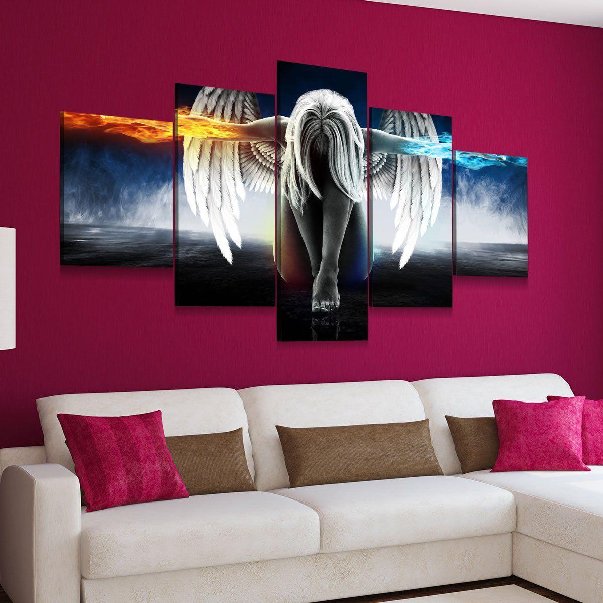 Angel Power 5 panel canvas wall art