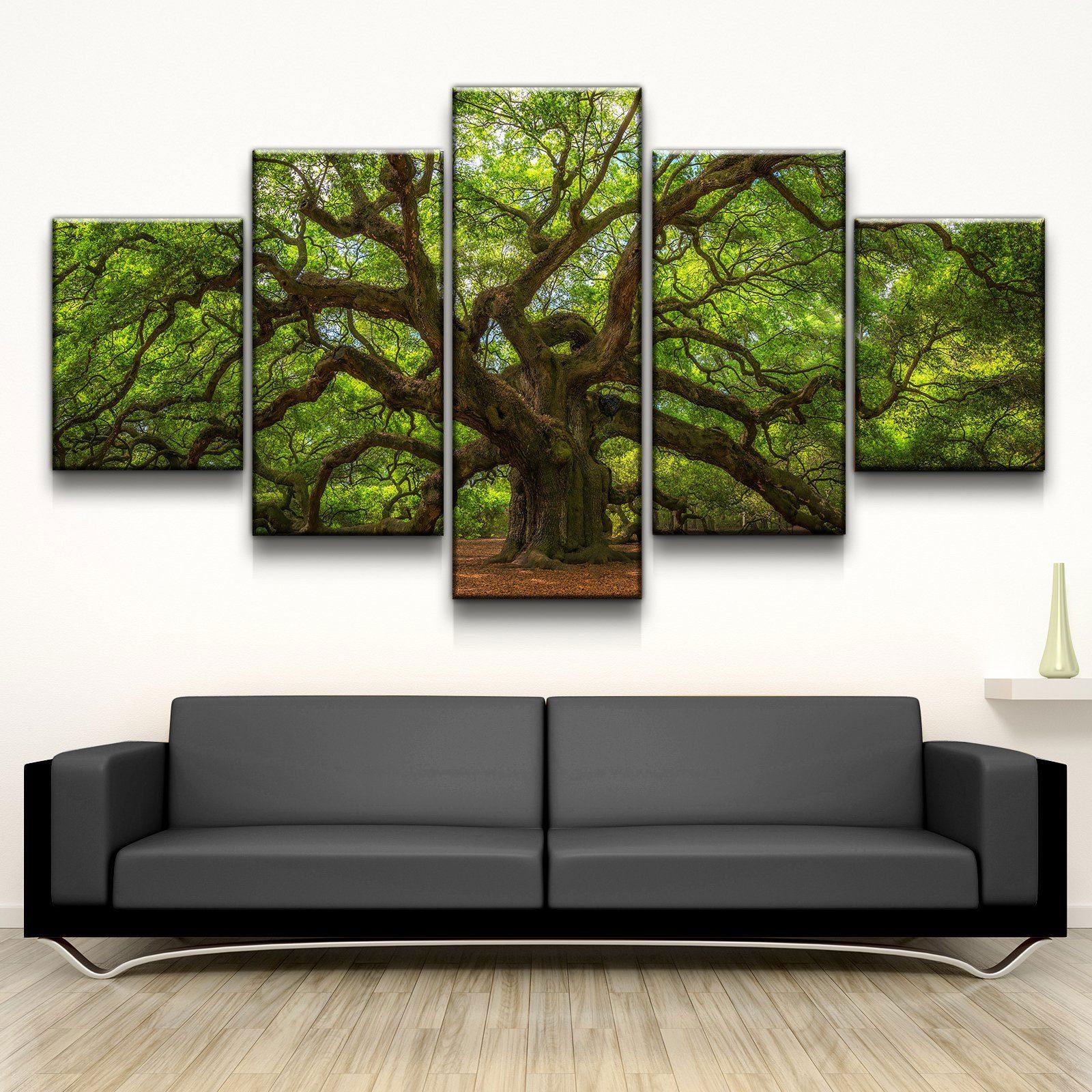 Angel Oak Tree 5 panel canvas wall art