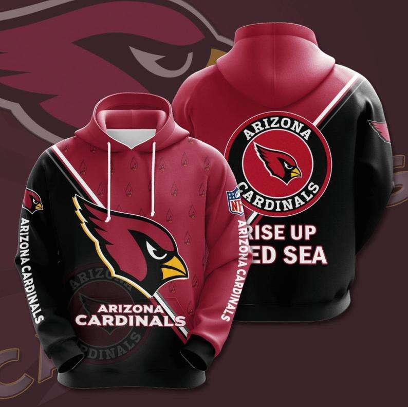 Arizona Cardinals Rise up Red Sea NFL Logo 3D Hoodie
