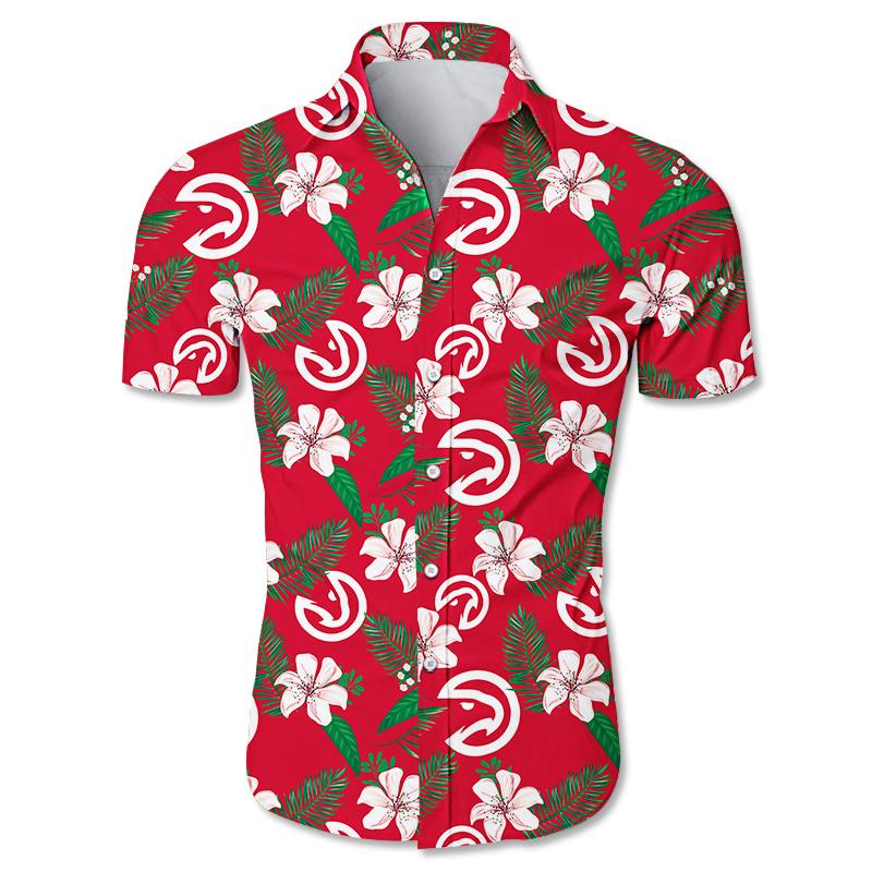 NBA Atlanta Hawks Floral Hawaiian Shirt Small Flowers