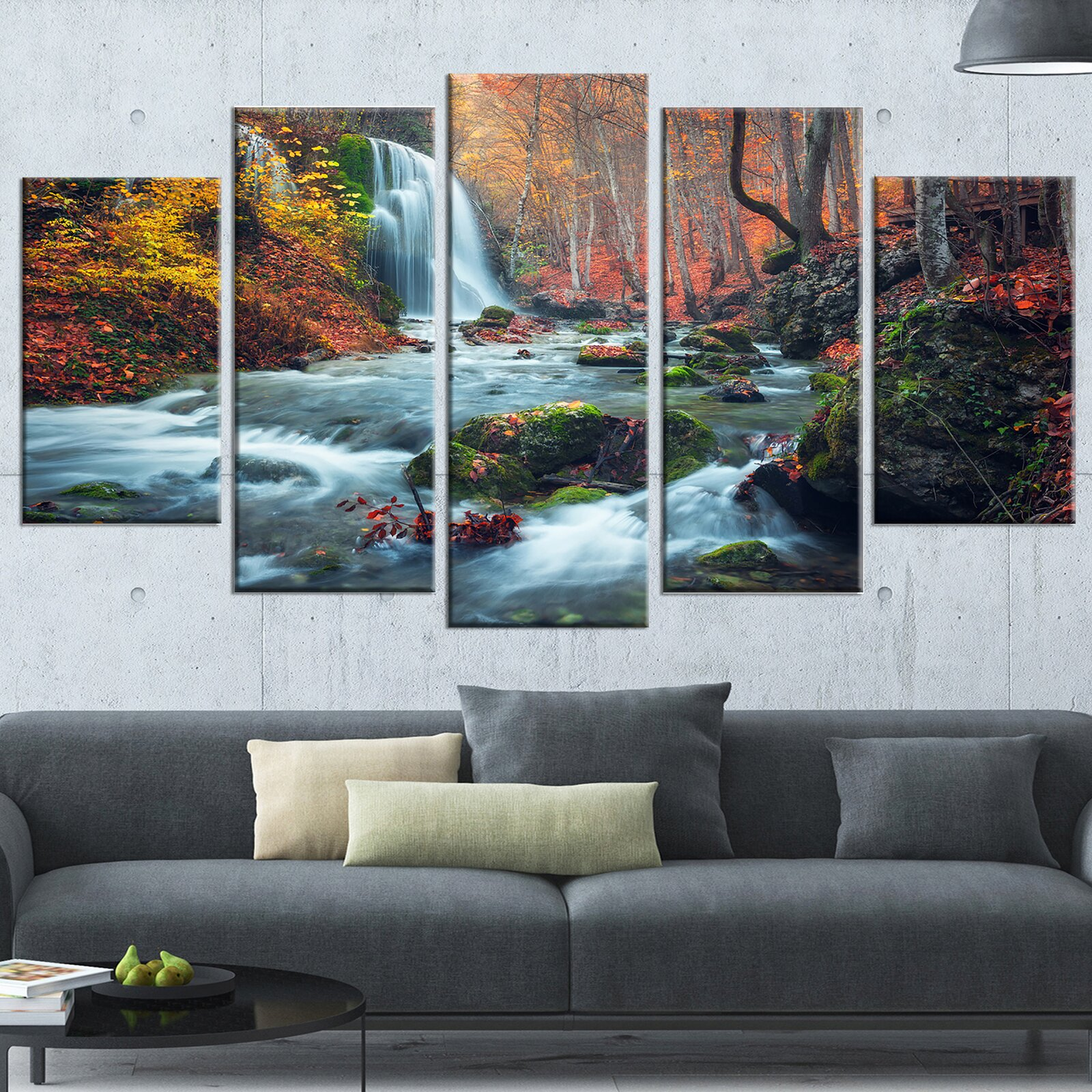 Autumn Mountain Waterfall Long View 5 Piece Wrapped Canvas