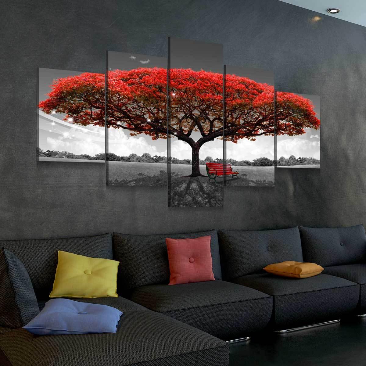 Beautiful Autumn Red Tree 5 panel canvas wall art