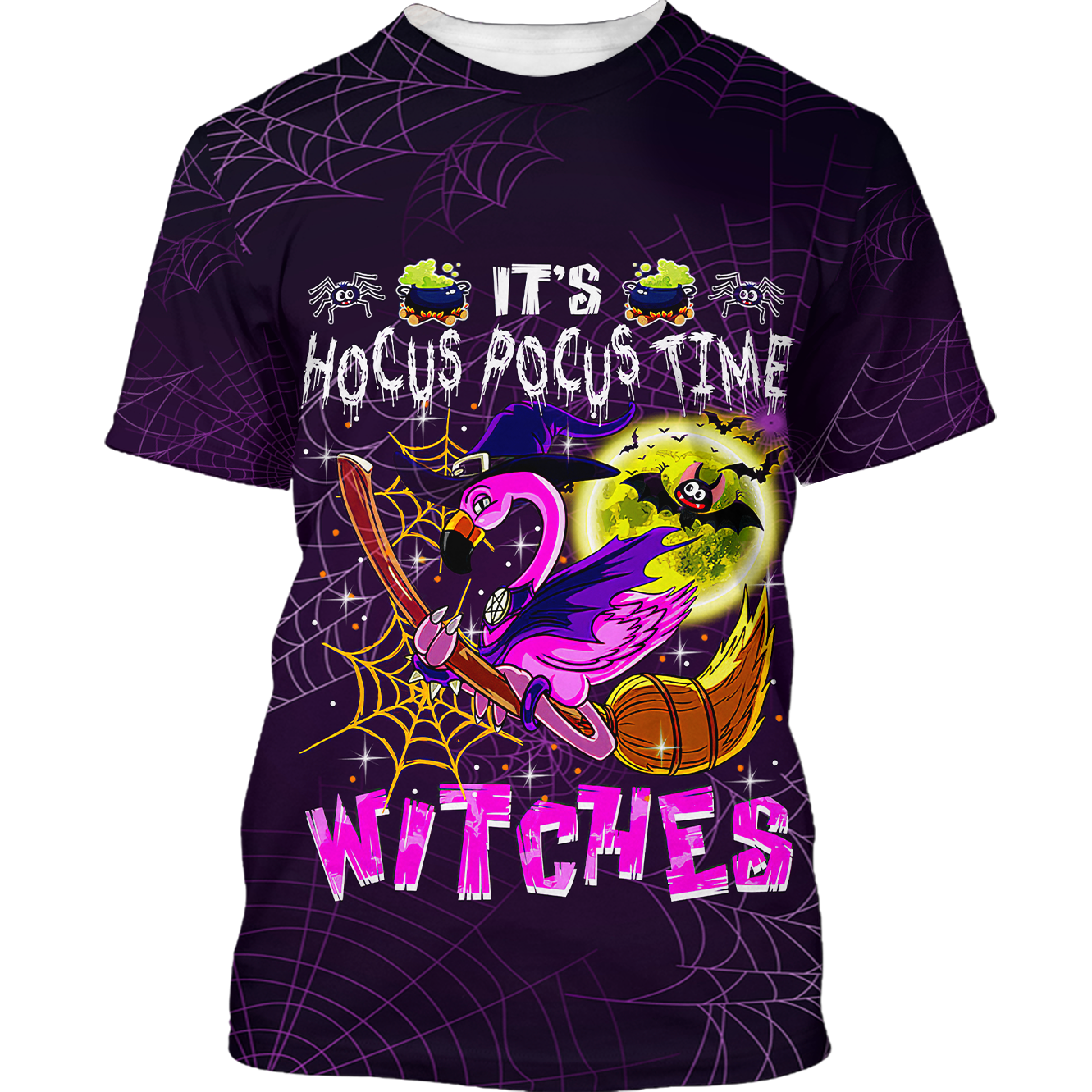 Hocus Pocus time Flamingo Witches Halloween Tshirt 3D