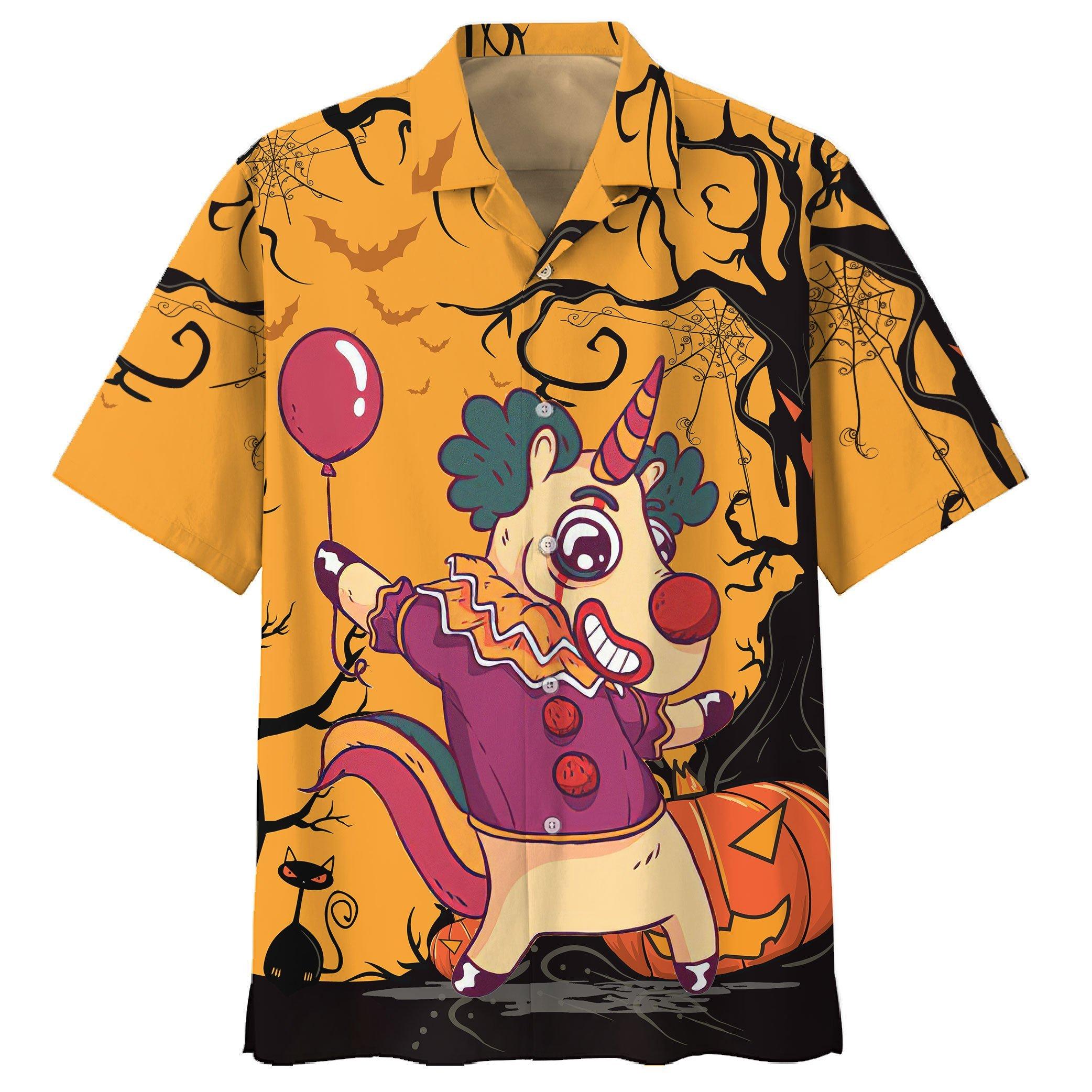 Happy Halloween Unicorn clown Hawaiian Shirt