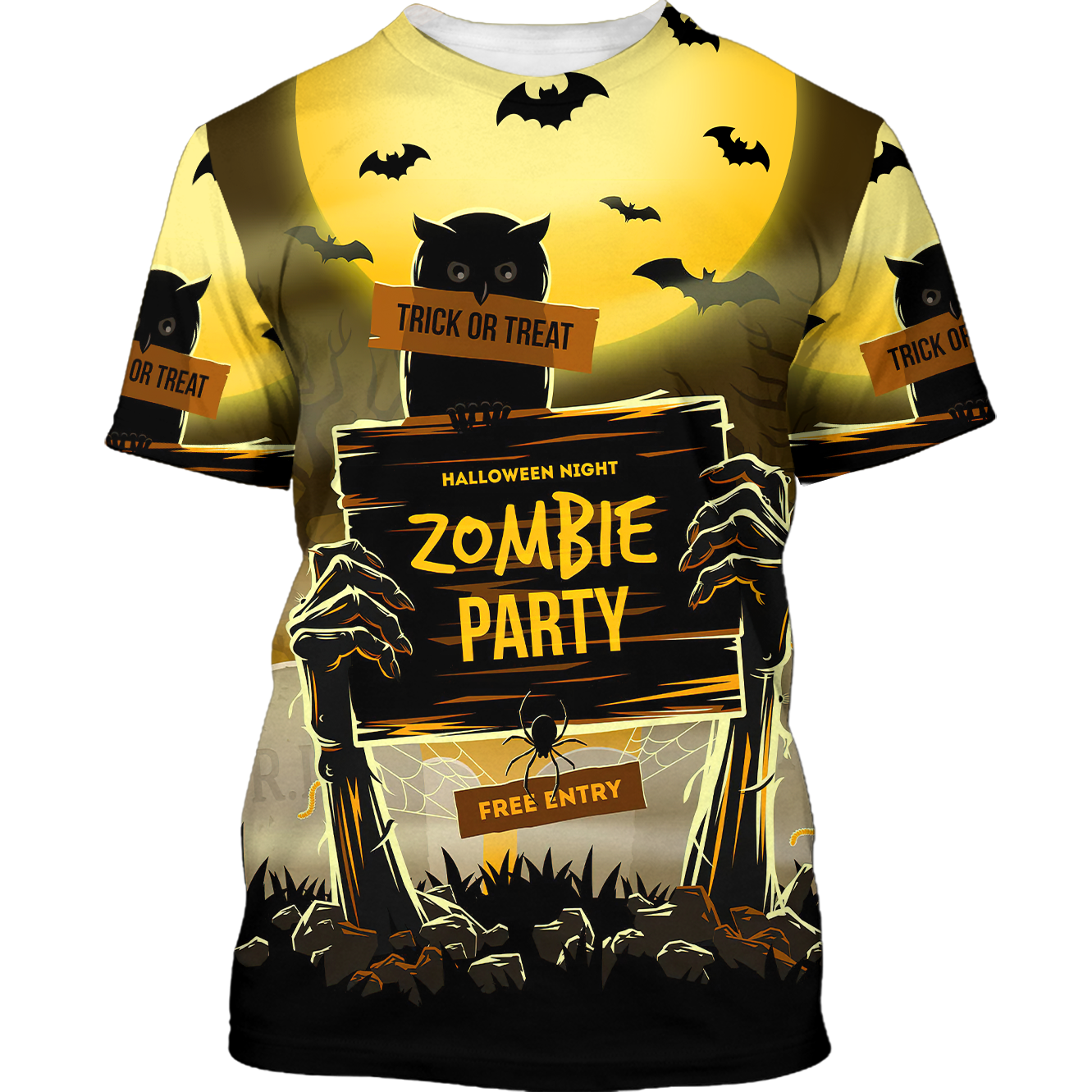 Halloween Owl Zombie Party Trick or Treat 3D Tshirt