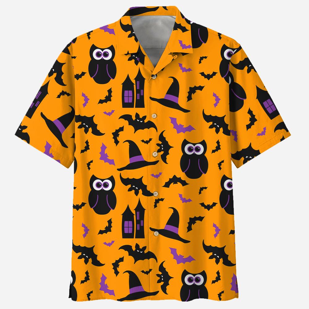 Owl Halloween Pattern Orange Hawaiian Shirt
