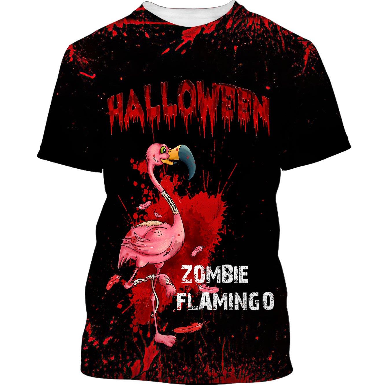 Famille - Flamingo Zombie Black Halloween Tshirt 3D and Hoodie