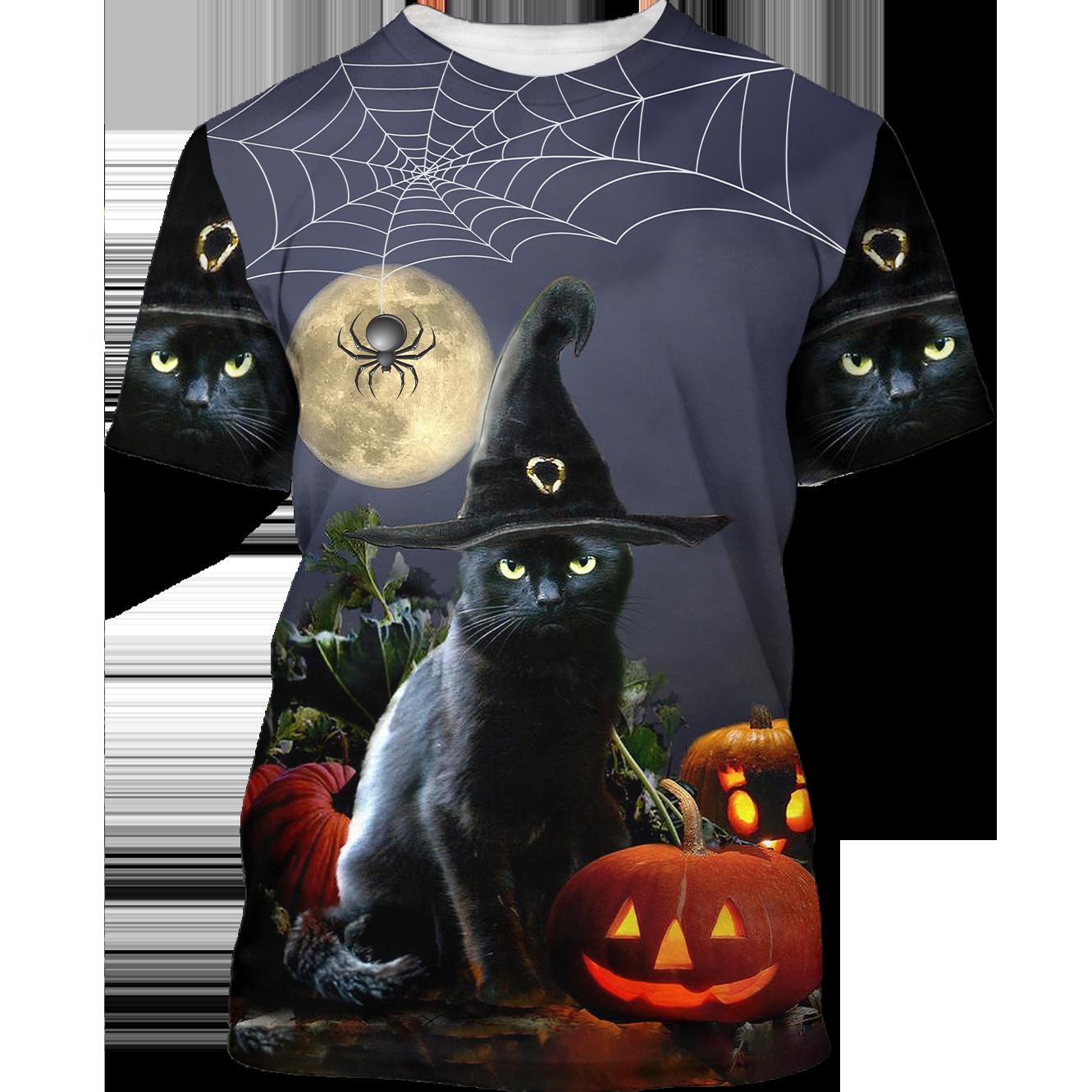 Black Cat aBlack Cat and Spider Happy Halloween 3D Shirtnd Spider Happy Halloween 3D Shirt