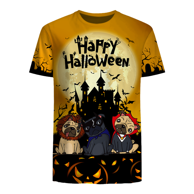 Happy Halloween cool Bull Dog Halloween 3D T Shirt