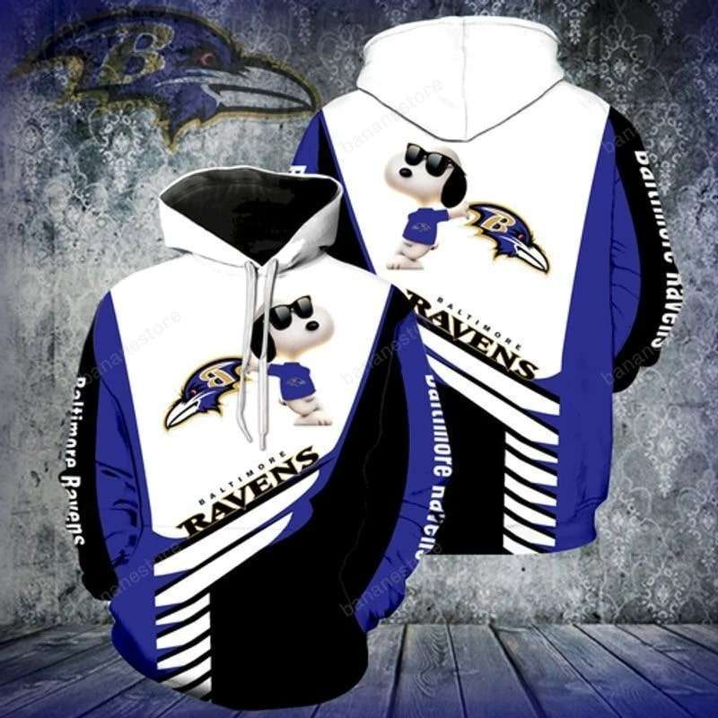 Baltimore Ravens NFL Logo Funny Snoopy With Sunglasses Peanuts 3D Hoodie
