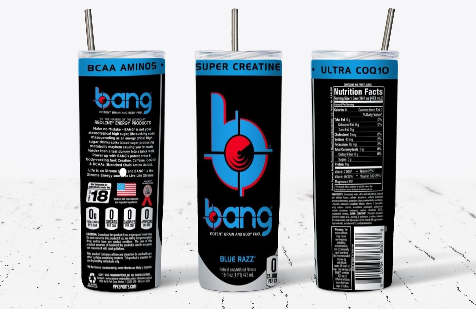 Bang Blue Razz Energy Drink Skinny Tumbler