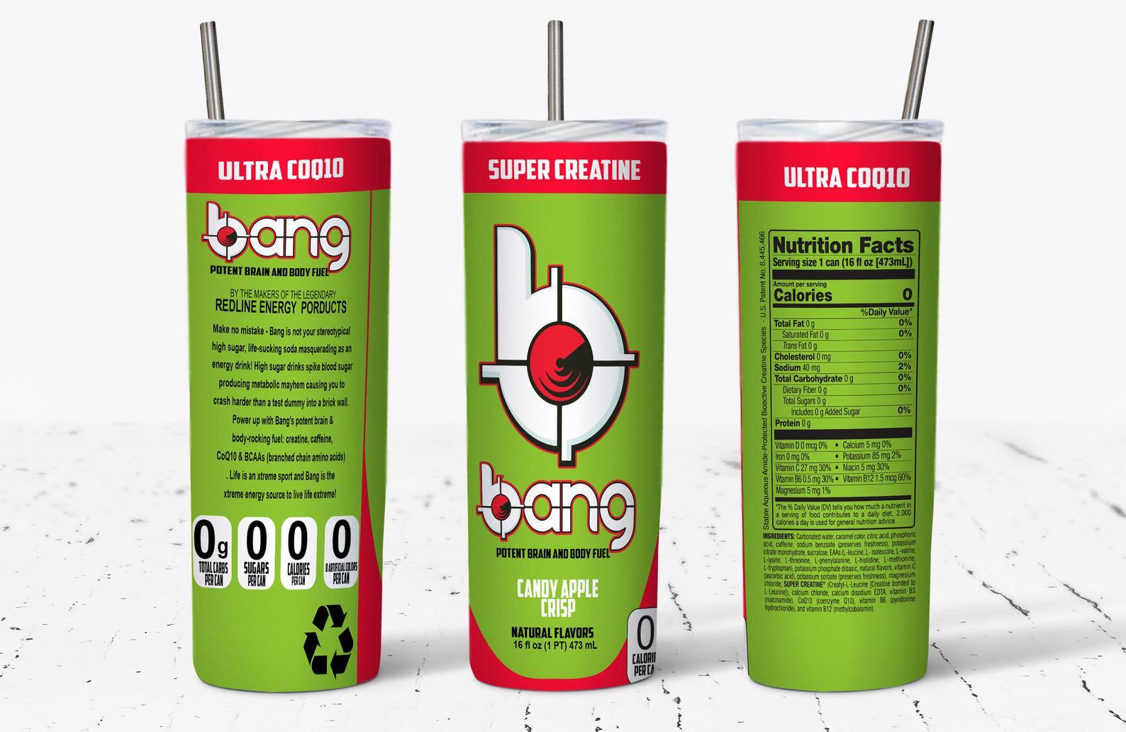 Bang Candy Apple Crisp Energy Drink Skinny Tumbler