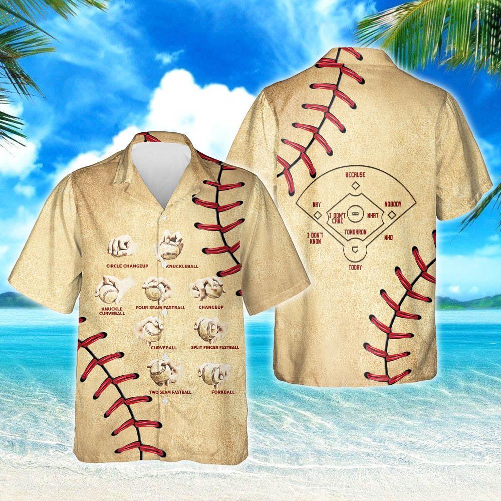Baseball Pitching Grips Hawaiian Shirt