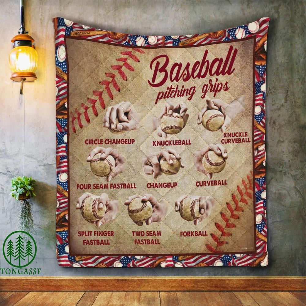 Baseball Pitching Grips Vintage Quilt Blanket