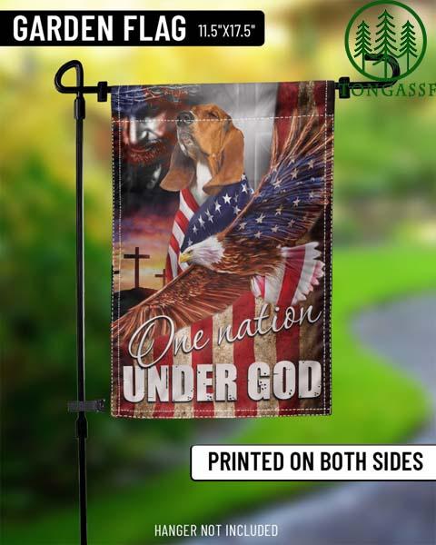 Basset Hound Eagle One Nation Under God Flags