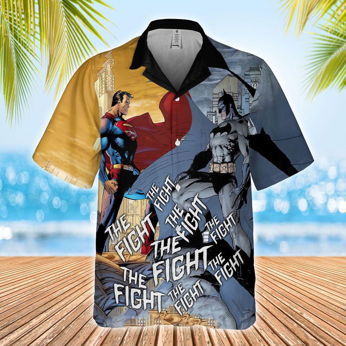 Batman and Superman The Fight Hawaiian Shirt Summer Shirt