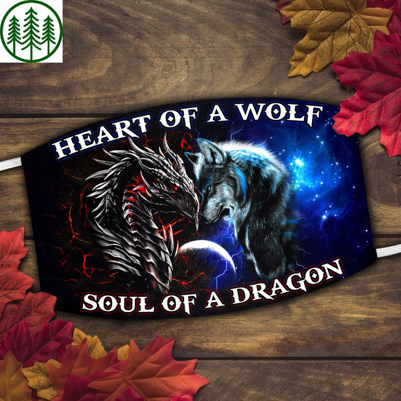 Battle of Heart The Wolf and Soul A Dragon Face Mask