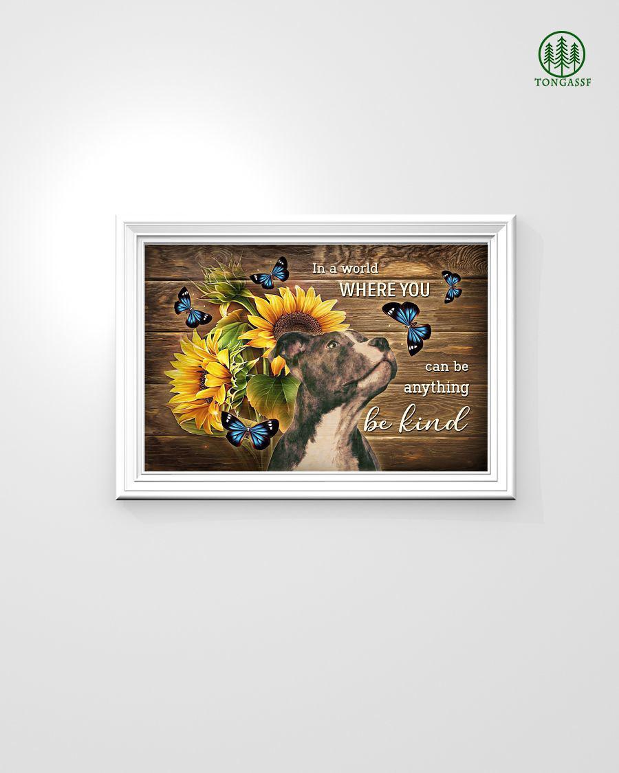 Be kind pitbull sunflower Horizontal Poster