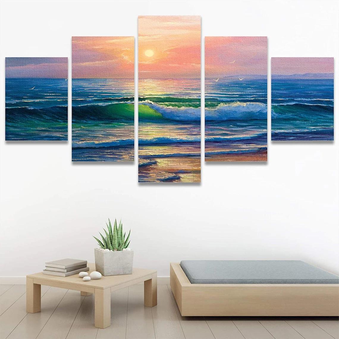 Beach Sunset Wall Art 5 Piece 1