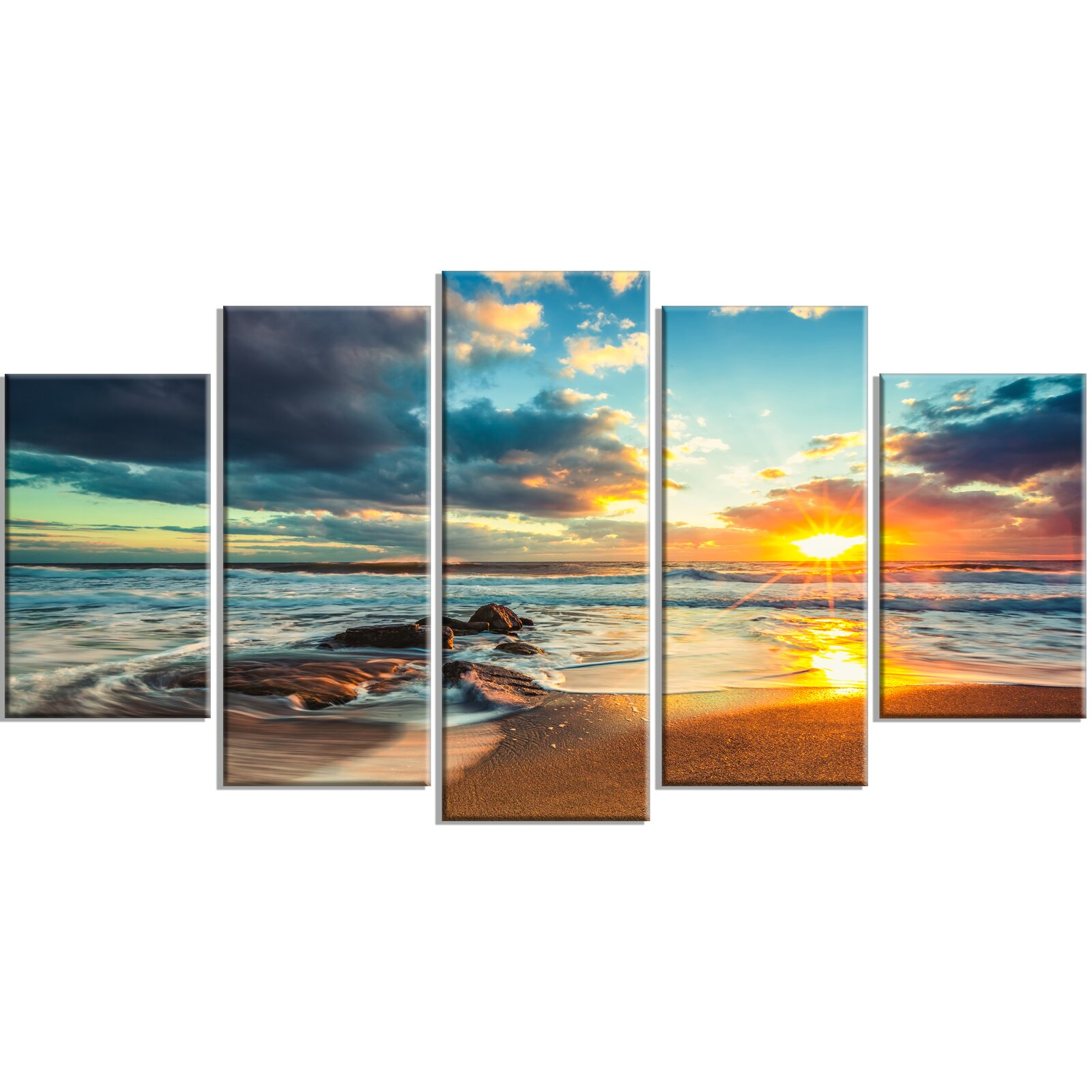 Beautiful Cloudscape Over The Sea 5 Piece Wrapped Canvas