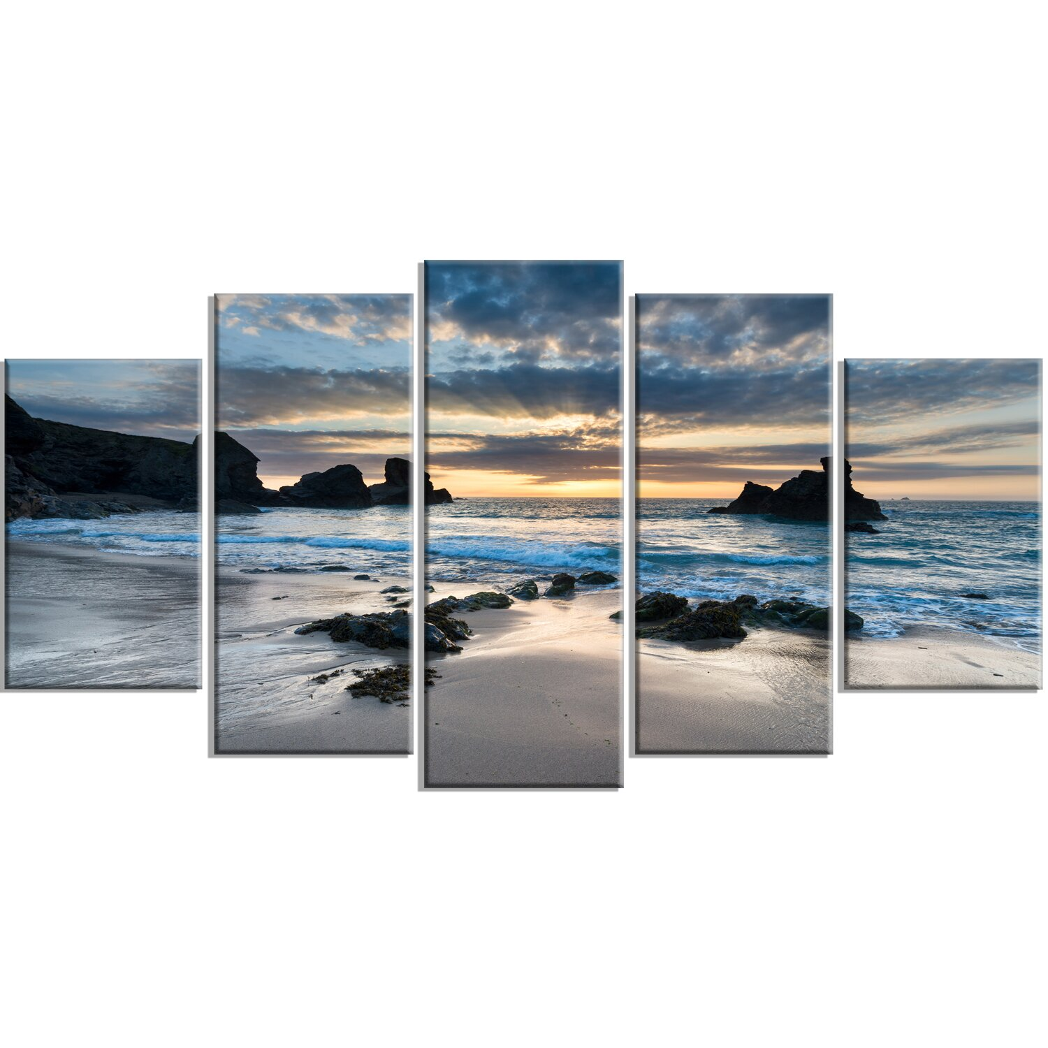 Beautiful Porthcothan Bay 5 Piece Wrapped Canvas