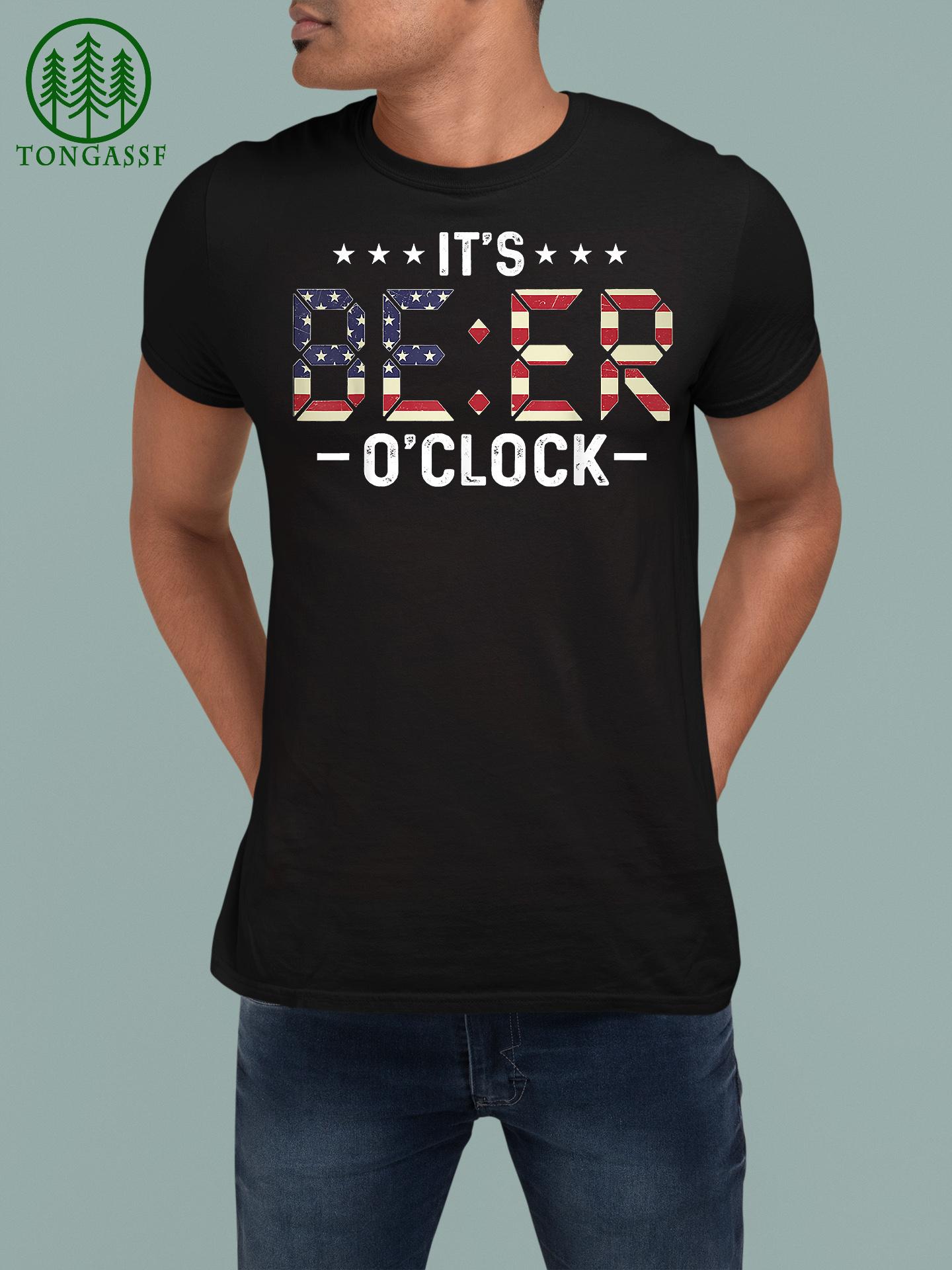 Beer Time It's Beer O'Clock American Flag Shirt