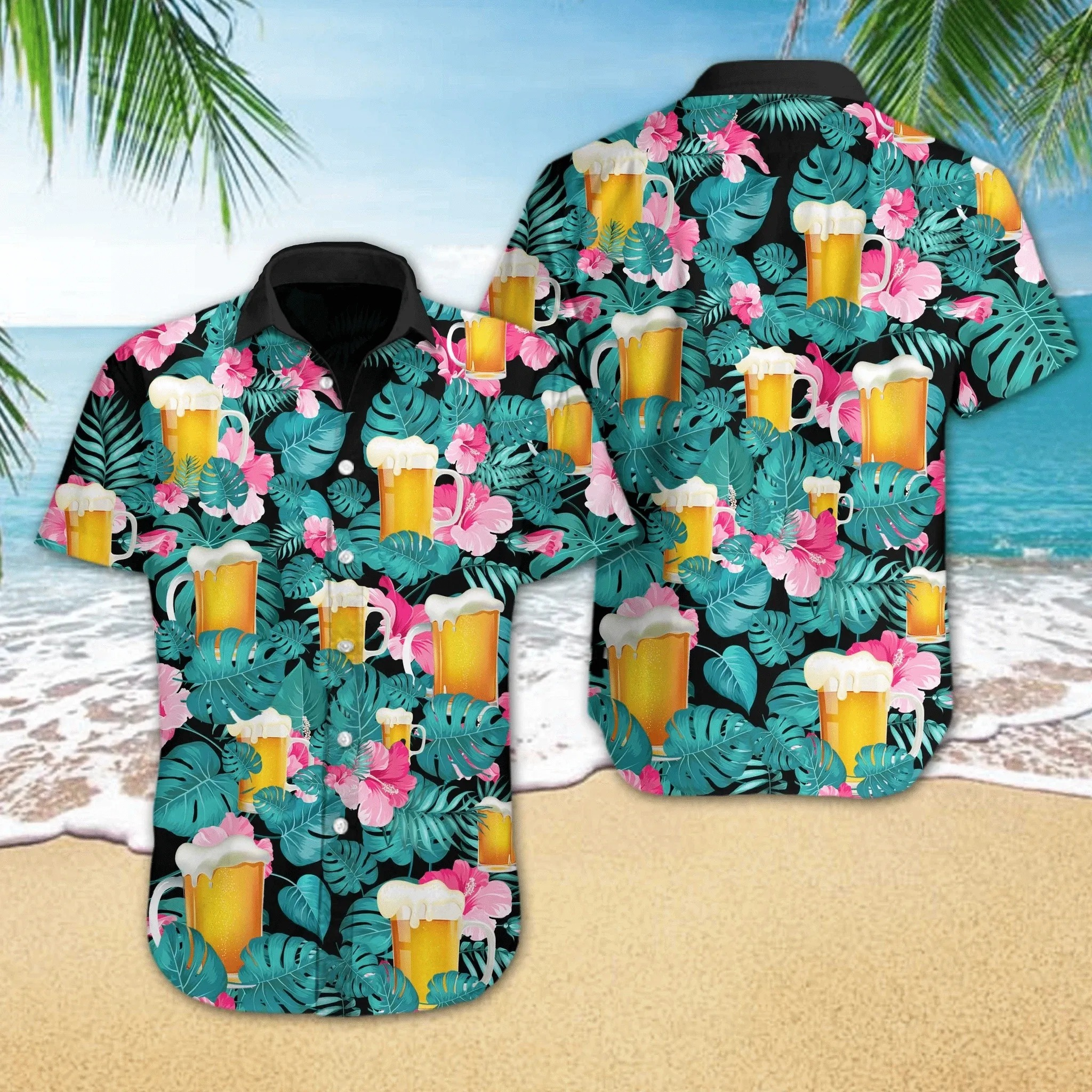 Beer Tropical Floral Hawaiian Shirt Summer Shirt