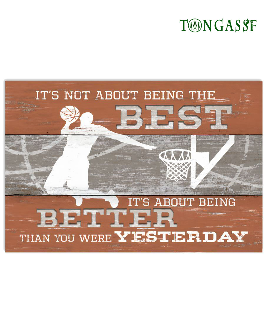 Being better than yesterday slam dunk basketball horizontal poster