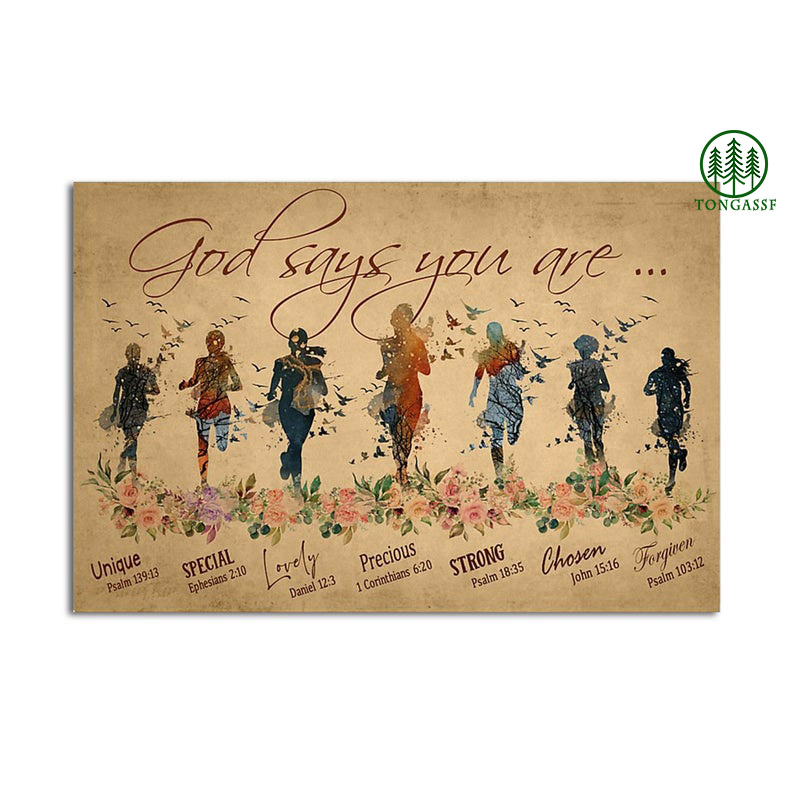 Bible God Says You are Running unique girl poster