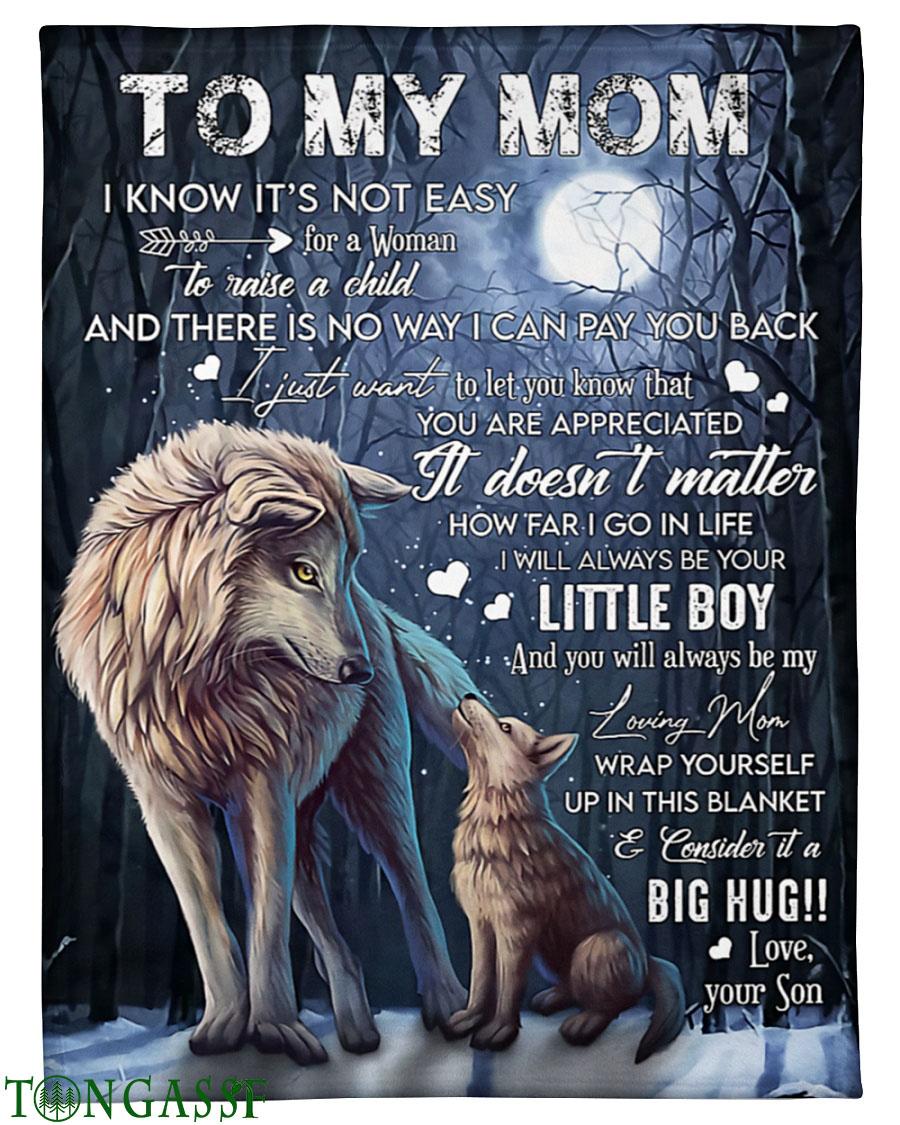 Big Hug to Mom Wolf with Moon fleece blanket